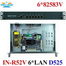 Rack 1U 6 LAN Router Firewall servidor con 6 82583 v RJ45 de red D525 1.8G apoyo ROS Mikrotik PFSense Panabit Wayos