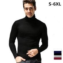 2018 primavera otoño cuello alto cuello camisa para hombre Camiseta de manga  larga casual slim fit más tamaño S-5XL 6XL negro  B.. b376e6f2d66
