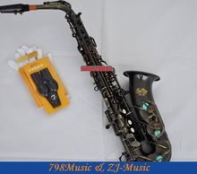 Black Nickel Eb Alto Saxophone High F# Key-Pearl Bottons