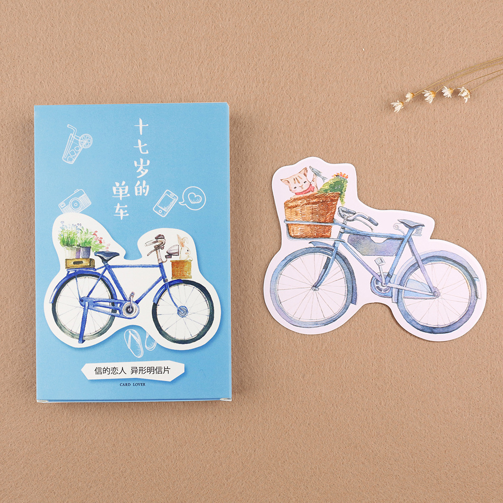 30 Pcslot Novelty Heteromorphism Bicycle Postcard Cycling Greeting