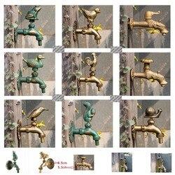 Premintehdw G1/2 Außen Wasserhahn Wand Halterung Solide Messing Tier Garten Antike Ländlichen Vintage Hahn Katze Hund Vogel ente Schnecke Squirral