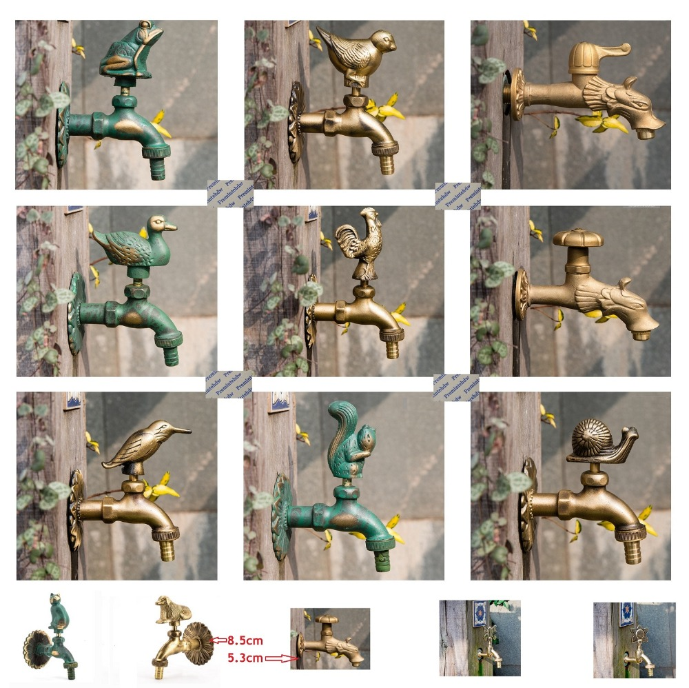 "Premintehdw G1/2"" Outdoor Faucet Wall Mount Solid Brass Animal Garden Antique Rural Vintage Tap Cat Dog Bird Duck Snail Squirral"