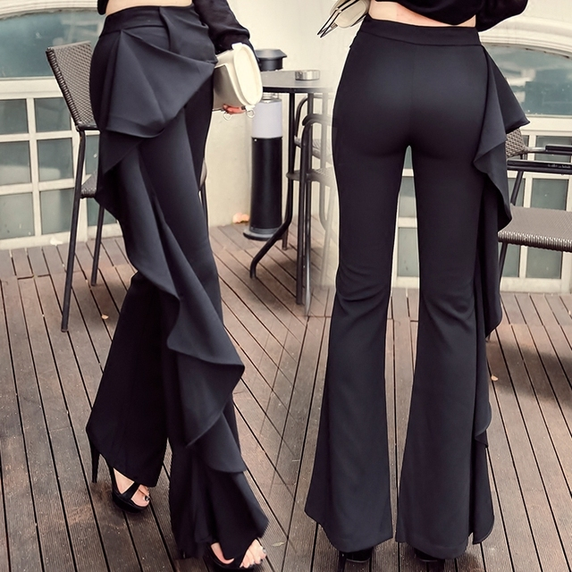 2018 Women\x27s Pants Lotus Leaf Black Pants Female Trousers High Waist Bag Hip Wide Leg Pants Pantalon Femme Spodnie Damskie
