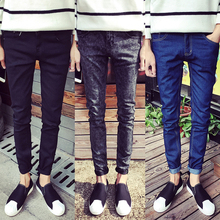 2016 male black skinny jeans shorts men's clothing trend slim small trousers male casual trousers Large size 27-36