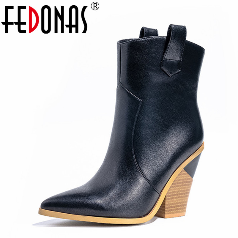 FEDONAS 2020 New Women High Heels Pointed Toe Autumn Winter Half Boots Sexy Party Dancing Shoes Woman Brand Ladies High Boots