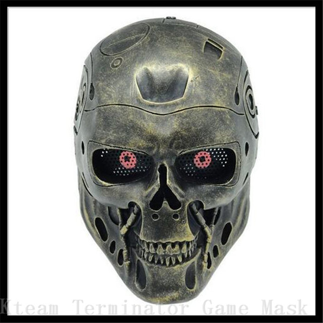 halloween party cosplay skull mask the horror movie terminator theme full face fiberglass resin masks gold