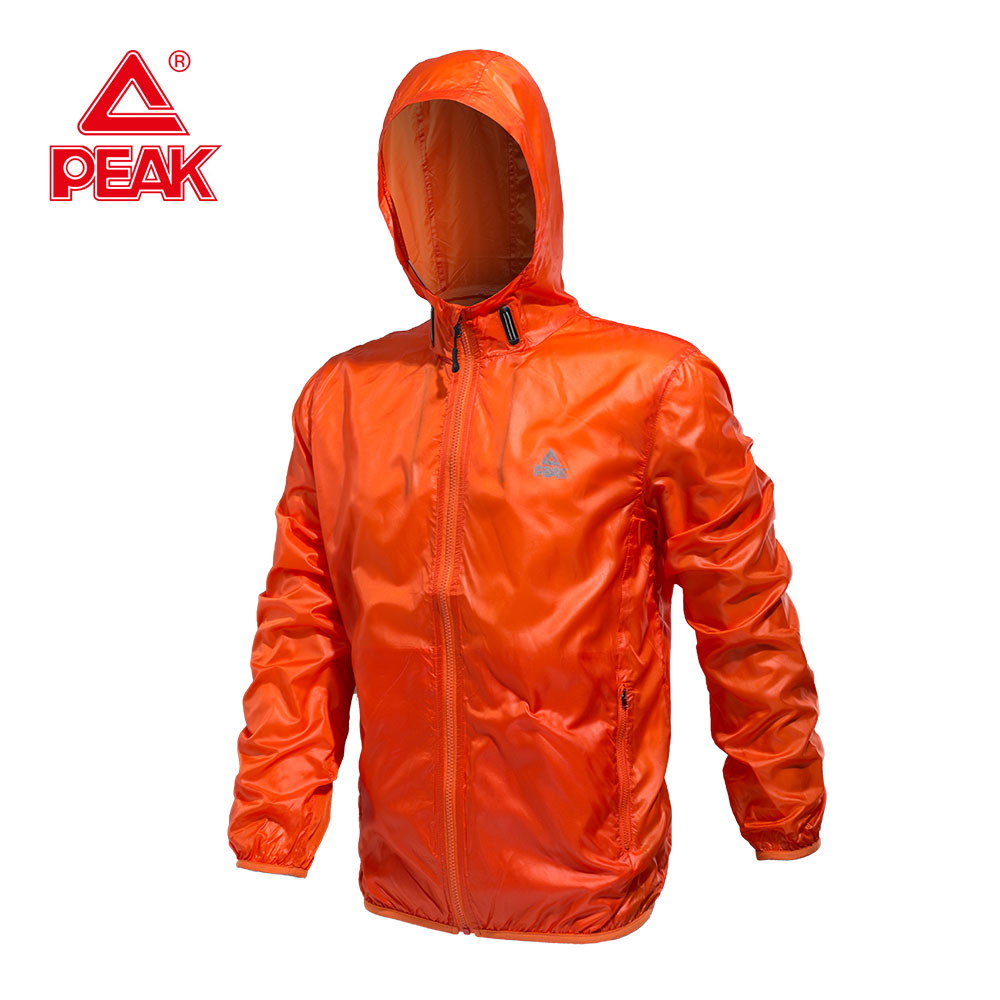 PEAK SPORT Men Running Jacket Mens Hooded Jacket Lightweight Quick Dry Waterproof Sun & UV Protection Outdoor Sport Skin Jackets