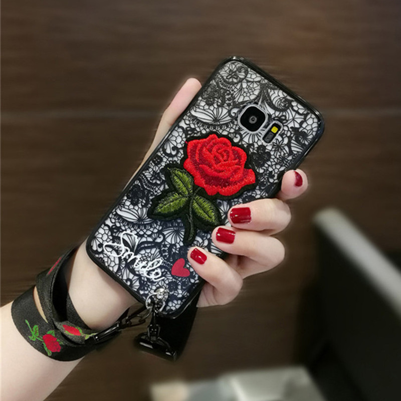 Phone Case For Samsung S9/S8 plus S7/S6 edge plus Note 3/4/5/8 Relief Floral Lace Flower Red Rose Embroidered Wristbands Lanyard