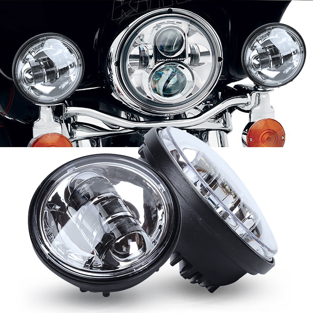ФОТО 2PCS 12 V 4.5 Inch White LED Auxiliary Spot Fog Motorcycle Lighting  Passing Light Lamp For  Motorcycle