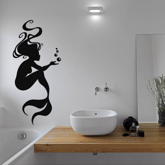 Vinyl Wall Decals Mermaid Bathroom Bathtub Stickers Home Decor Toilet Decal Diy Removable Art Murals
