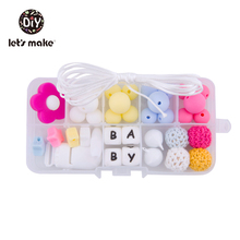 Lets Make Silicone Beads Set Flower Shape Crochet DIY Pacifier Clips Baby Product 1 Teething BPA Free Teethers
