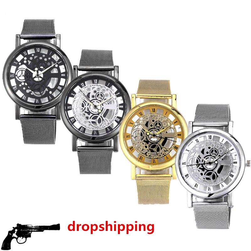 Mode uhr männer Skeleton Uhr Männer Edelstahl Mesh Band Quarz Armbanduhr Uhr Uhren Mujer Reloj Hombre dropshipping