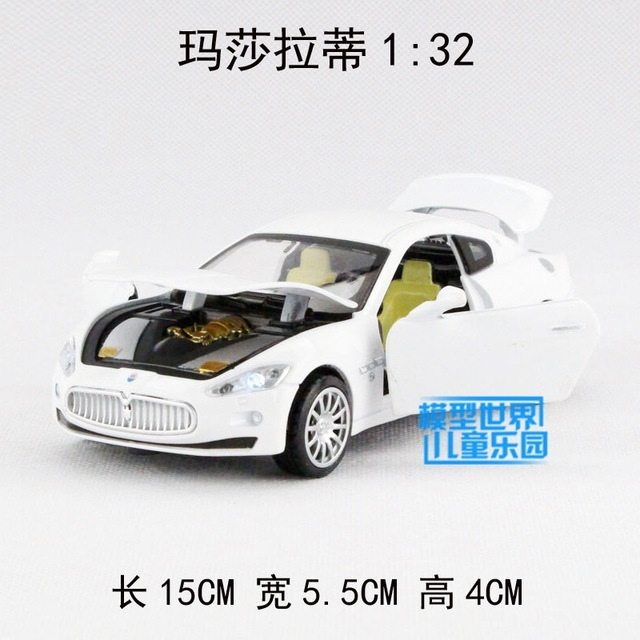 Candice guo alloy car model 1:32 Maserati roadster sport racing plastic motor pull back soung light toy birthday gift christmas