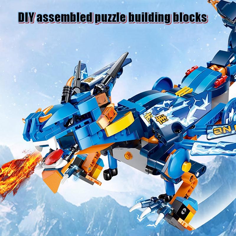 Dinosaure de contrôle à distance pour enfants bricolage blocs de construction éducatifs assemblés cadeau de jouet - 4