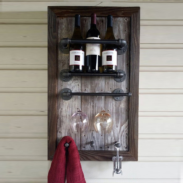 Free Shipping Industrial Pipe Wine Racks Metal Decorative Wine Rack ...