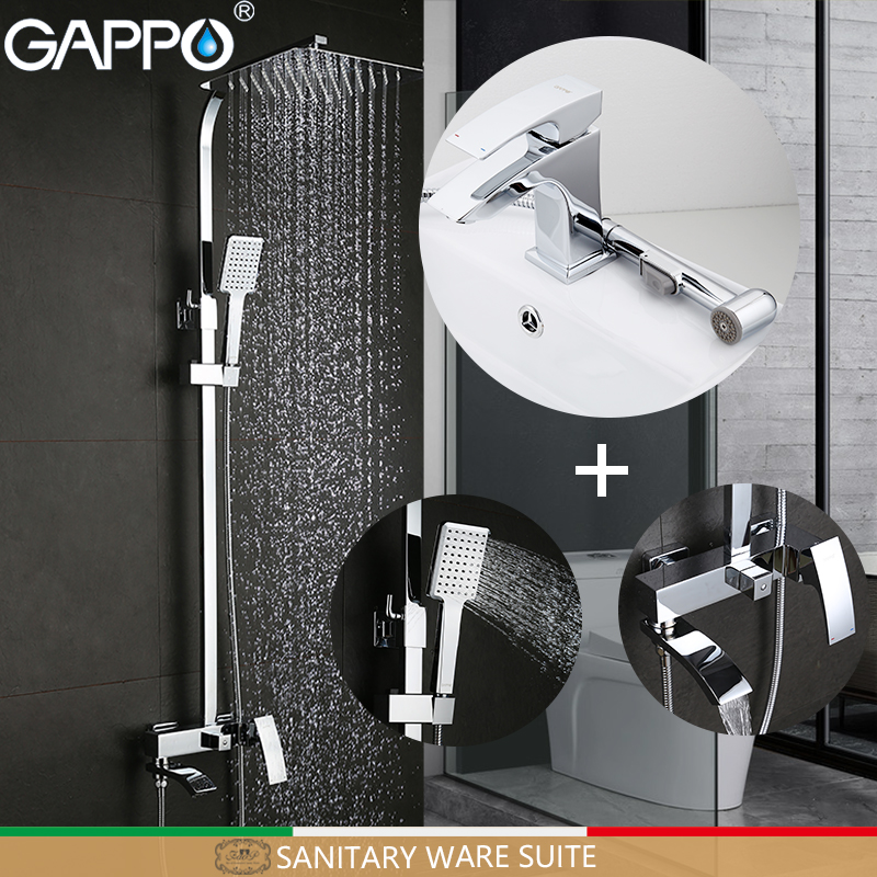 GAPPO Bathtub Faucets Deck Mounted Basin Sink Faucet mixer torneira Cold Hot Water Mixer tap in hand shower Sanitary Ware Suite