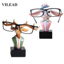 VILEAD 6 Resin Rabbit Deer Glasses Bracket Figurines Creative Animal Stand Ornament Elk Reindeer Model Home Decor Gift