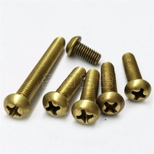 100pcs M3 Brass Screw Round Pan Head Copper Screw Cross Recessed Phillips Copper Bolt M3*5/6/8/10/12/16/20/25/30mm