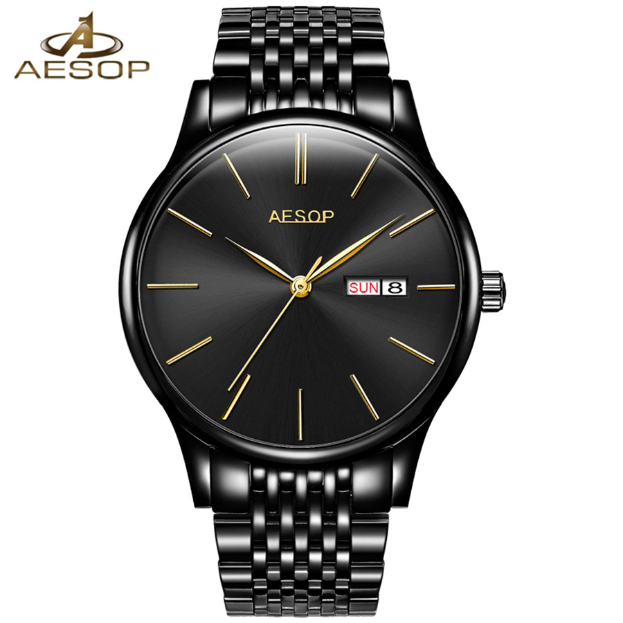 AESOP Luxury Men Classic Date automatic Mechanical Watch Self-Winding Black Stainless Steel Strap Wrist Watch Male Luxury Clock