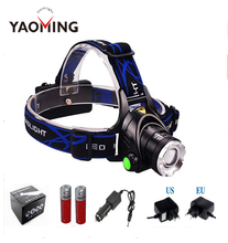 Headlight Cree XM-L T6 LED 2000LM led Headlamp light headlamp flashlight AC Charger Car charger 2 X 18650 battery