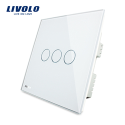 Livolo White Crystal Glass Panel, Touch Switch, UK standard, Touch Light Switch/Wall Light Touch Switch AC 220-250V VL-C303-61
