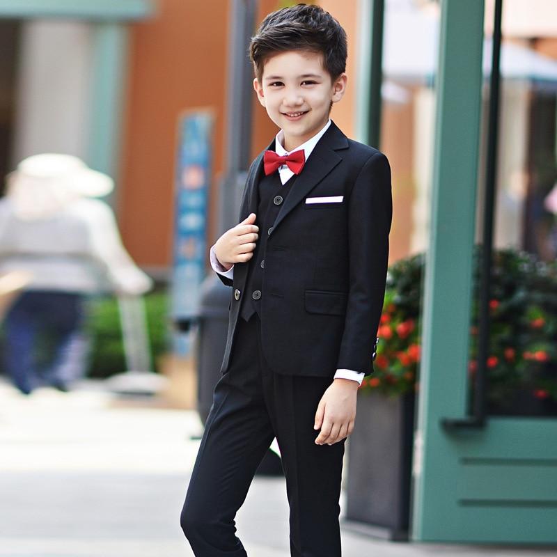 ФОТО Hot 2017 Top Quality Boys Black Blazer 5 pcs/set Wedding Suits for Boy Formal Dress Suit Prom Suits Toddler Boys Blazers