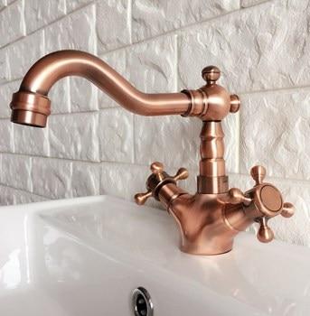 Basin Faucets Antique Red Copper Bathroom Sink Faucet 360 Degree Swivel Spout Double Cross Handle Bath kitchen Mixer Taps zrg052
