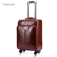Travel Belt PU Leather Rolling Luggage Spinner Men Business Suitcase Wheels 16 inch Carry On Password Travel Bags Trelloy