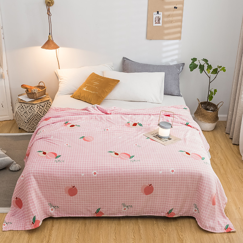 Peach Bedspread Blanket 200x230cm High Density Super Soft Flannel Blanket To On For The Sofa/Bed/Car Portable Plaids
