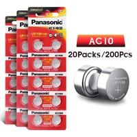 200pcs/lot 100% Original Panasonic 1.5V AG10 LR1130 SR1130W 189 LR1130 Alkaline Button Coin Cell Battery AG10 389 LR54 SR54