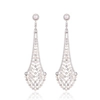 GrayBirds Imitation Rhodium Plated New Style AAA Cubic Zircon And Pearl Jewelry Luxury Long Earring For Party Girls XYE050