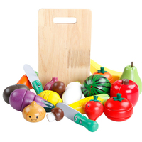 Kid's Wooden Pretend Play Set Toy Kitchen Fruit Vegetables,Colorful Wood Cutting Educational Toys Food Gift for Toddlers Child