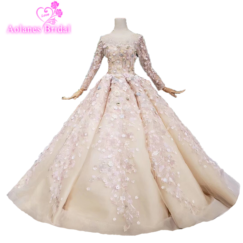 2019 Bling Muslim Wedding Dress Long Sleeve 3d Flowers Bruidsjurken Bridal Dress Custom Made Vestido De Novia Sexy Wedding Gown