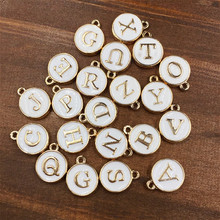 Wholesale Top Quality A-Z White/Pink Charms Letter Oil-drop Jewelry,Gold color Disc Pendant alphabet Beads Charm for DIY Jewelry