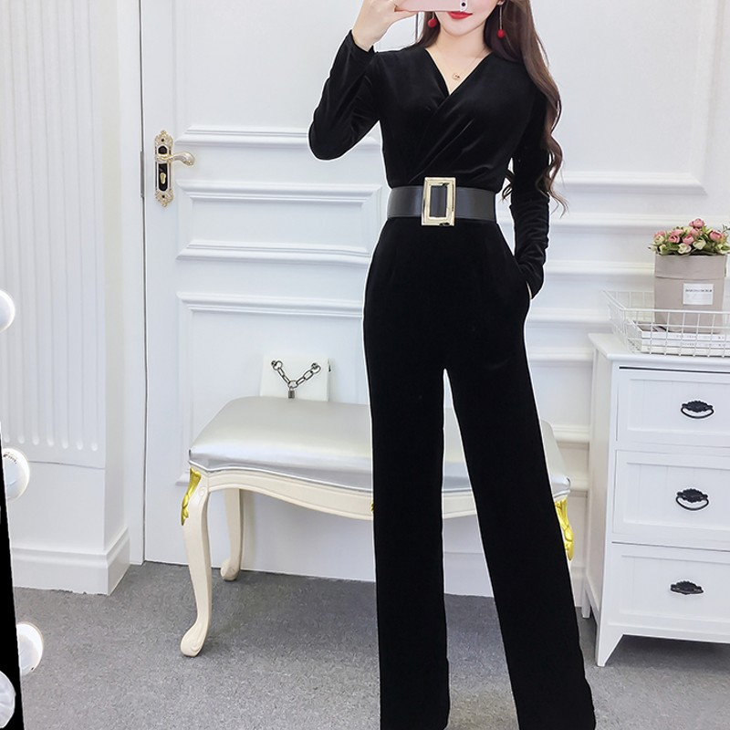 Velvet Jumpsuits Women 2019 Fashion Autumn Womens Rompers Party Club Wear Playsuit Jumpsuit Black Elegant Long Trousers Pants