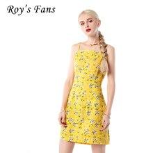 Рой Вентиляторы Для женщин модное платье с принтом спагетти ремень мини-Длина платье с цветочным узором и бантом Повседневное сладкий Женское платье обувь для девочек
