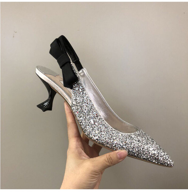 Luxury Silver Gold Sequined Leather Upper Lady High Heels Shoes Elegant  Pointed Toe Slingbacks Gladiators Women b56f80fb612c
