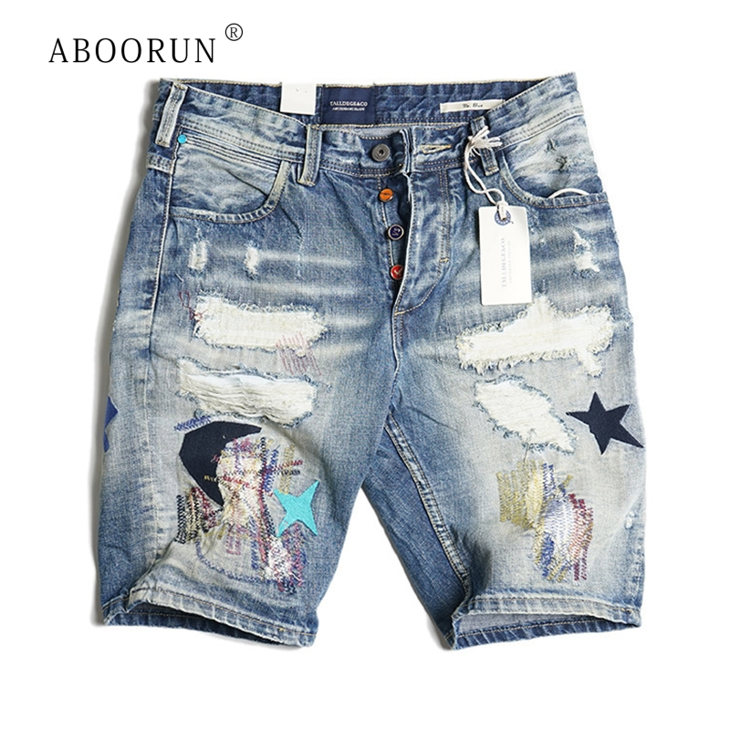 ABOORUN Hi Street Men's Ripped Denim   Shorts   Distressed Pentagram Embroidery Jeans   Shorts   Summer Knee Length   Shorts   for Male R323