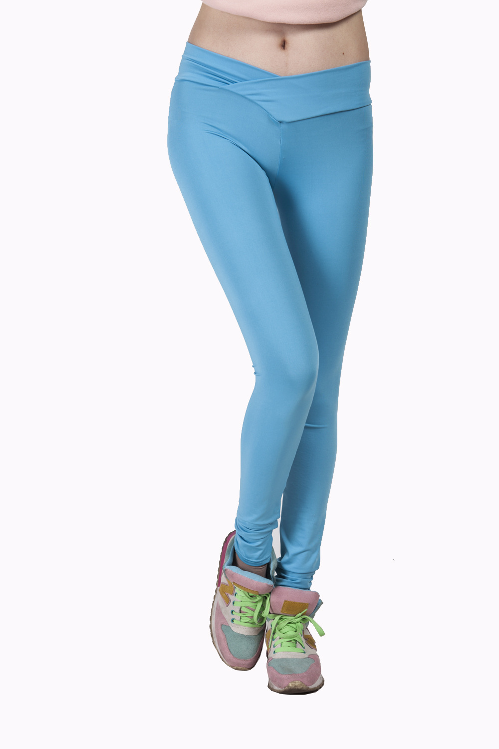 New Women High V-Waist Neon Candy Colorful Leggings Solid sportwear dancing girl's Pants Spring Autumn
