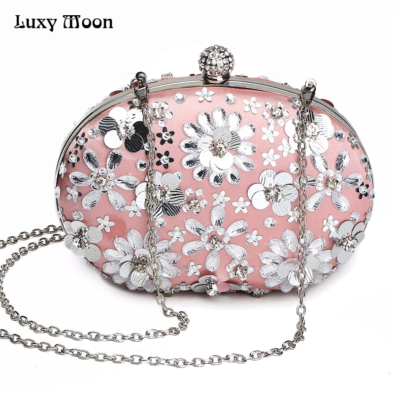 LUXY MOON Evening Bag Women's Wallet Clutch Purse Petal Sequins Wedding Evening Bag mini Small Hand bags wallet Shoulder Bags luxy moon bling crystal clutch purse rhinestones evening bag for women jewelry hard case handbags bridesmaid shoulder bags zd799