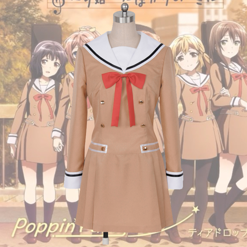 Japanese font b Anime b font BanG Dream OYAMA Kasumi HANAZONO Cosplay Costume Girls High School