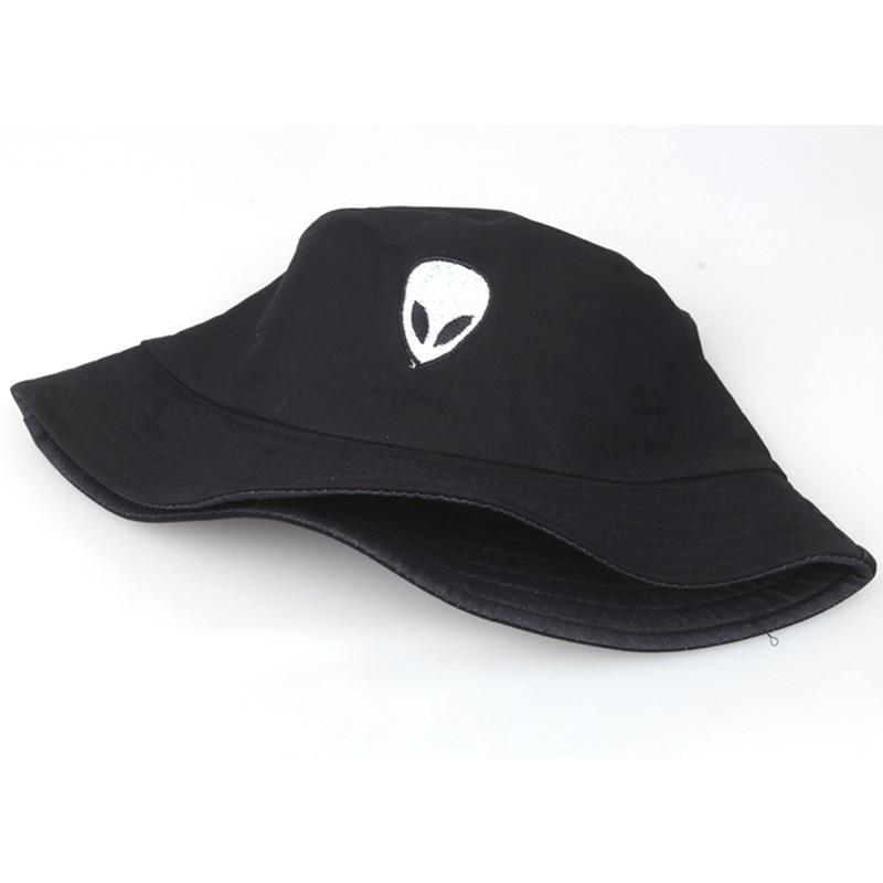 ee1d48a1 2018 New unisex Alien embroidery bucket hat fixed black fishermen ...