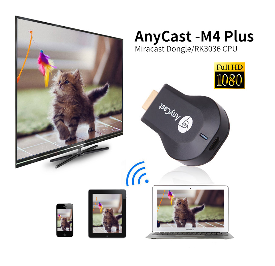 Anycas M4 plus HDMI Media Video Streamer Wi-Fi Display Receiver dongle 1080P TV Stick adapter for Android vs Mira Chrome cast 2
