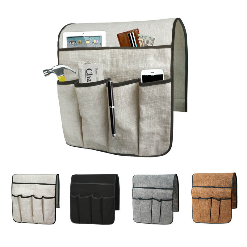 Sofa Chair Arm Rest Storage Bag Couch Remote Control Phone