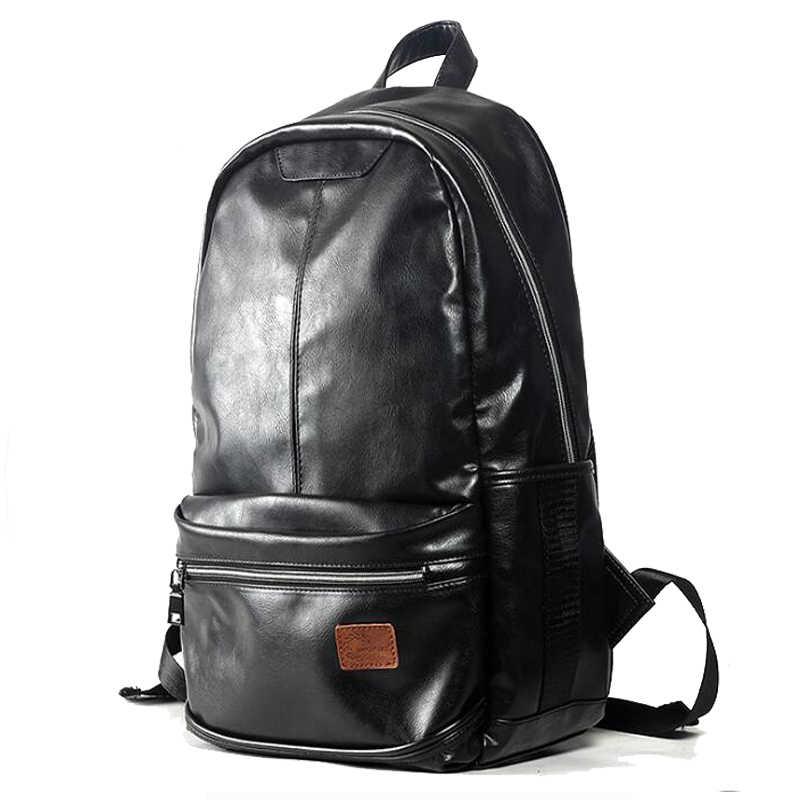 2018 Классический водонепроницаемый  кожаный  PU мужской рюкзак     Для школьников студентов    Сплошной чёрный цвет  ноутбука   Рюкзаки путешествия