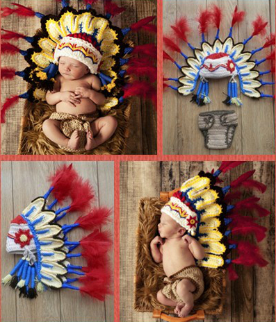 Baby Boy Thanksgiving Indian Hats Caps Diapers Cover Costume Set Crochet  Handmade Newborn Photography Props-in Hats   Caps from Mother   Kids on ... d841845f0c4