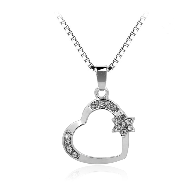 2017 New Arrive Hexagonal Star of David Heart Necklaces Pendants Rhinestone Jewelry Gift For women lady girls children Necklace