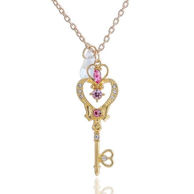 Cute Japan Sailor Moon Faux Crystal Gold Color Cartoon Necklace Moon Heart Key Pendant Cosplay Necklace Women Fashion Jewelry