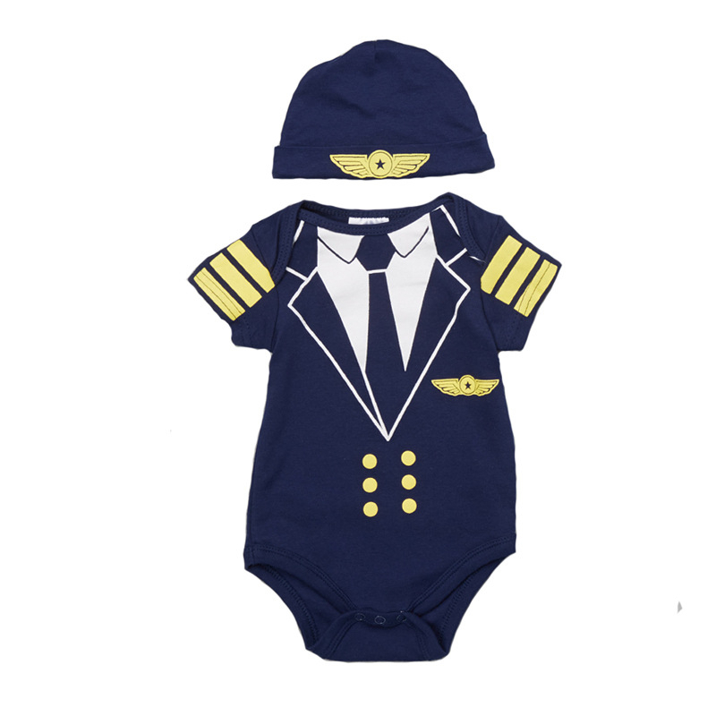 Plane Baby Boys Clothes Sets Captain Bodysuit+Hat Summer Short Sleeve Bebe Clothing Newborn Clothes Body for Toddler Jumpsuit new 2017 brand quality 100% cotton newborn baby boys clothing ropa bebe creepers jumpsuit short sleeve rompers baby boys clothes