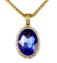 New love vintage Bling Iced Out Red Ruby CZ Pendant Chain 18k Gold Plated Oval Red RUBY Pendant Necklace  jewellery for women